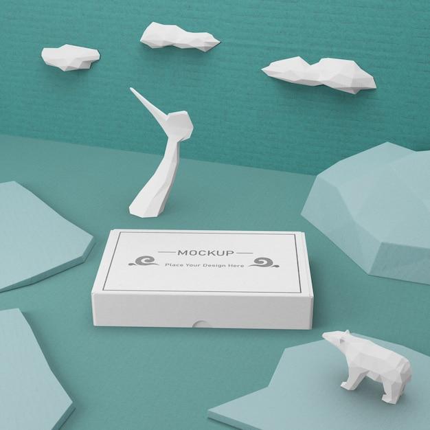 Concept De Boîte En Carton De Jour De L'océan Psd gratuit