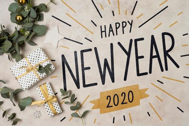 Concept De Bonne Année Avec Des Cadeaux Psd gratuit