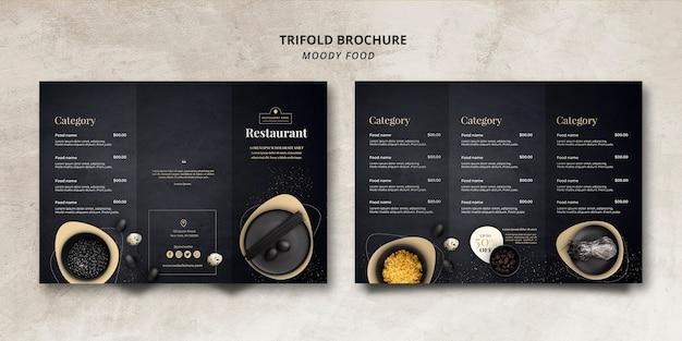 Concept De Brochure à Trois Volets Pour Le Restaurant Moody Food Psd gratuit