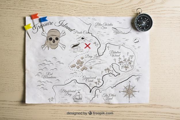 Concept de carte du trésor des pirates Psd gratuit