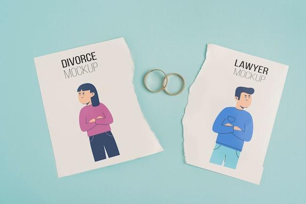 Concept De Divorce Avec Anneaux De Mariage En Or Psd gratuit