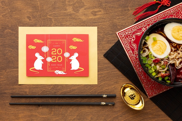 Concept Du Nouvel An Chinois Avec Maquette Psd gratuit