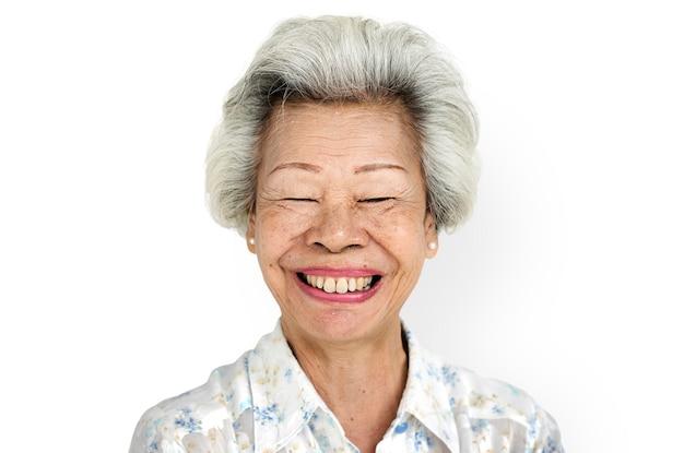 Concept de femme portrait expression fond blanc PSD Premium