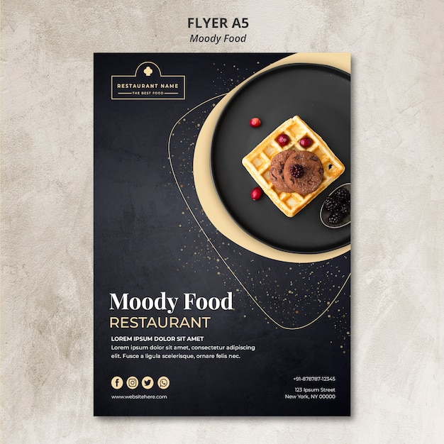 Concept De Flyer Pour Le Restaurant Moody Food Psd gratuit