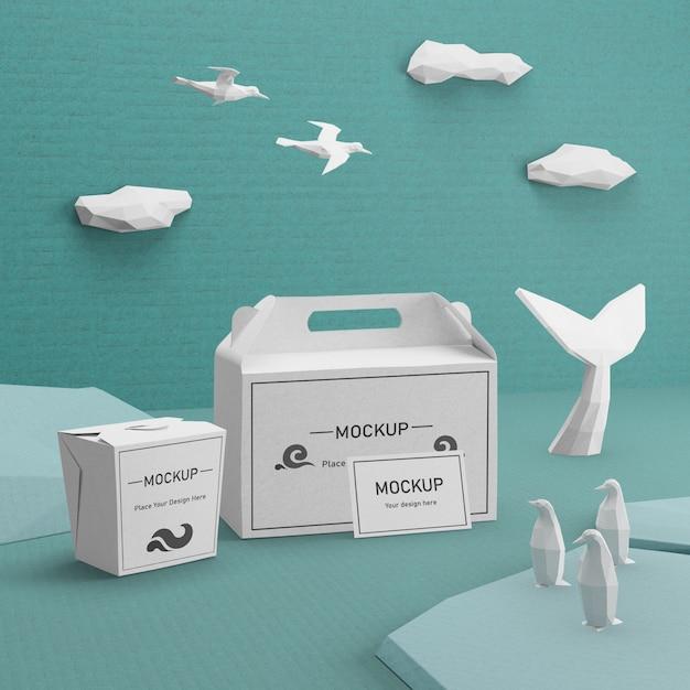 Concept De Jour De L'océan Avec Des Sacs En Papier Durables Psd gratuit