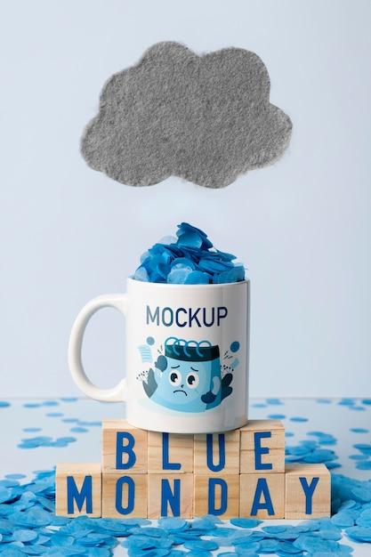 Concept De Lundi Bleu Avec Maquette Psd gratuit