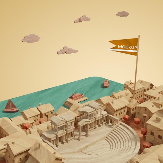 Concept Miniature 3d Des Bâtiments Des Villes Psd gratuit