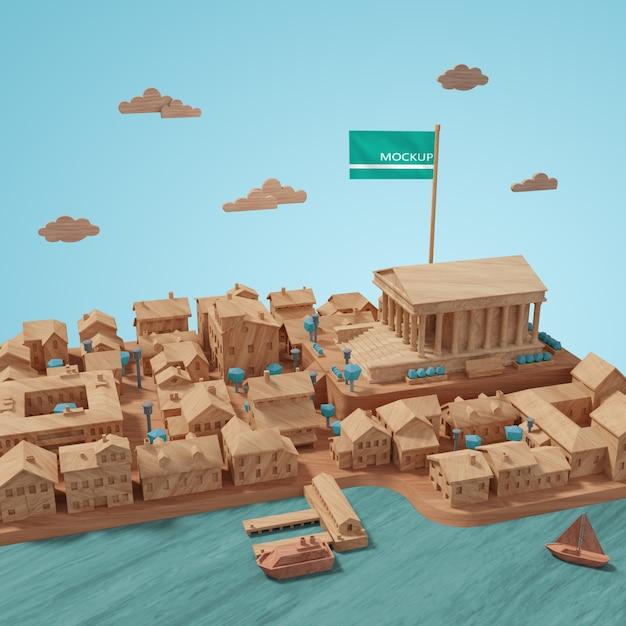 Concept Miniature Des Bâtiments Des Villes Psd gratuit