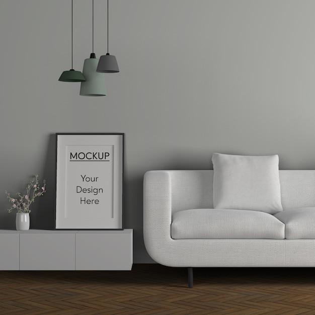 Concept De Minimalisme Avec Canapé Blanc Psd gratuit