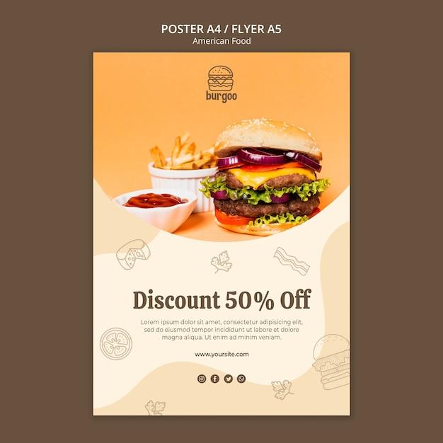 Concept De Modèle D'affiche De Cuisine Américaine Psd gratuit