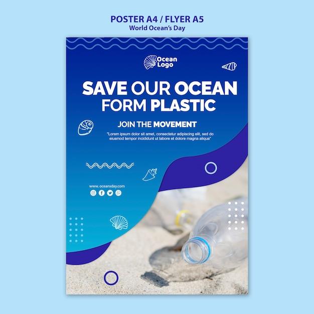 Concept De Modèle D'affiche De La Journée Mondiale Des Océans Psd gratuit