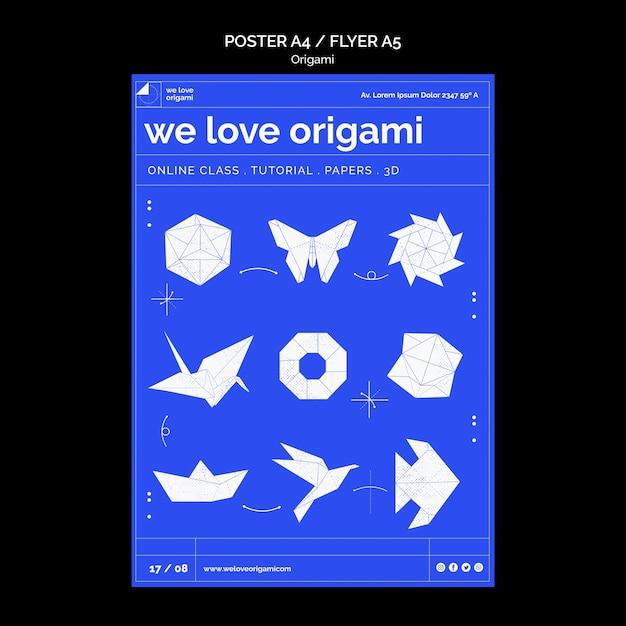 Concept De Modèle D'affiche Origami Psd gratuit