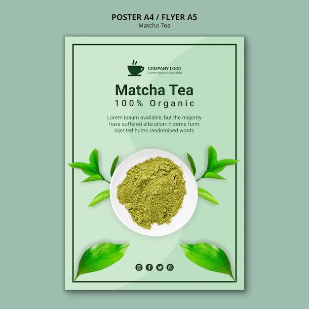 Concept De Modèle D'affiche Pour Le Thé Matcha Psd gratuit