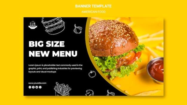 Concept De Modèle De Bannière De Cuisine Américaine Psd gratuit