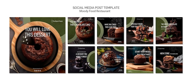 Concept De Modèle De Restaurant De Nourriture Moody Pour Les Médias Sociaux Psd gratuit