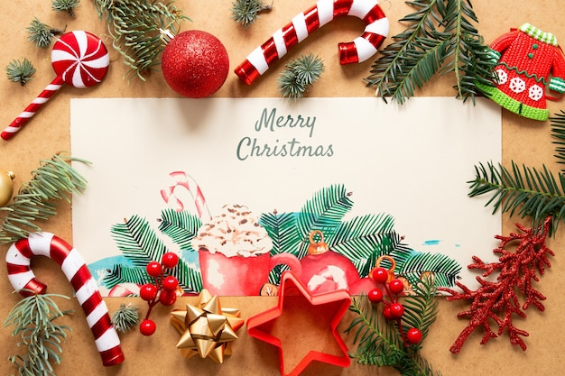 Concept De Noël Avec Maquette Psd gratuit
