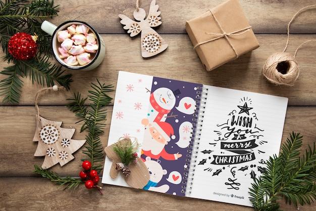 Concept De Noël Vue De Dessus Avec Des Cadeaux Psd gratuit