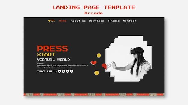 Concept De Page De Destination D'arcade Psd gratuit