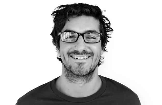 Concept de portrait souriant joyeux homme PSD Premium