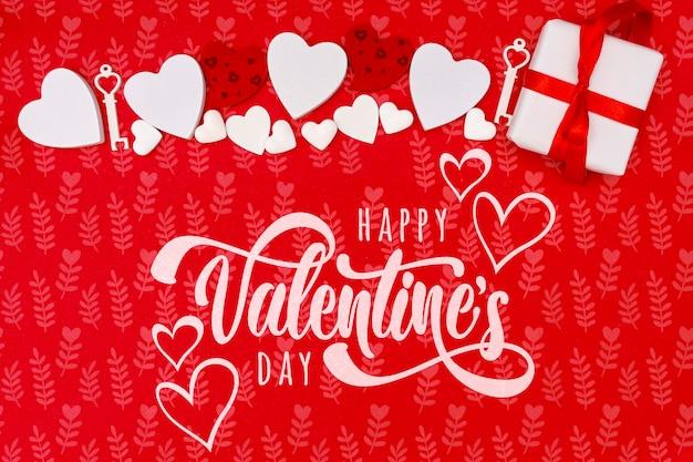 Concept De Saint Valentin Heureux Avec Fond Rouge Psd gratuit