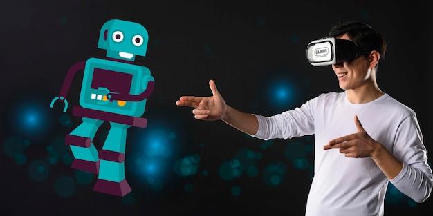 Concept Technologique Avec Illustration De Robot Psd gratuit
