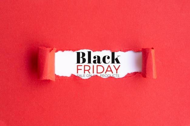Concept de vendredi noir sur fond rouge Psd gratuit