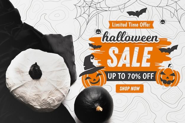 Concept de vente halloween avec des citrouilles Psd gratuit