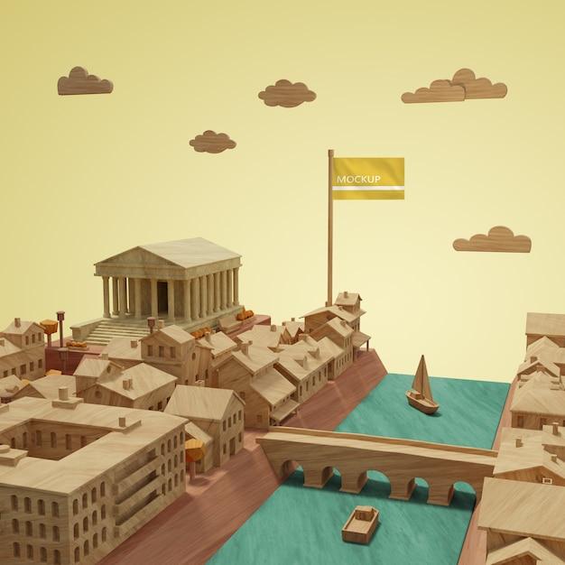 Concept De Villes Journée Mondiale Maquette De Bâtiment 3d Psd gratuit