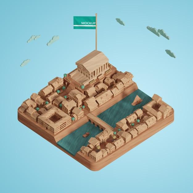 Concept De Villes Journée Mondiale Modèle De Construction 3d Psd gratuit