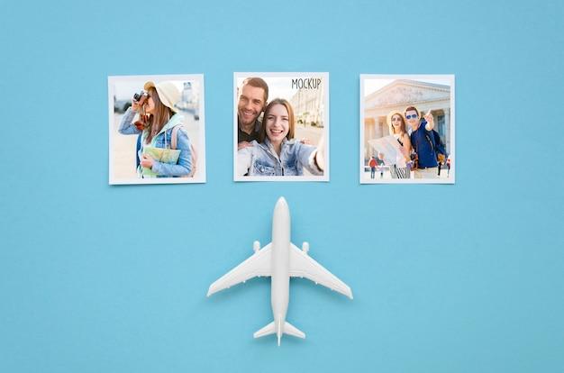 Concept De Voyage Plat Avec Jouet Avion Psd gratuit