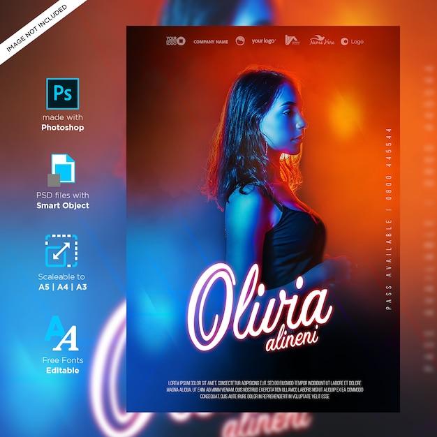Conception D'affiche Créative Dj Party Club Prête à Imprimer PSD Premium