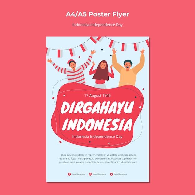 Conception D'affiche Du Jour De L'indépendance De L'indonésie Psd gratuit