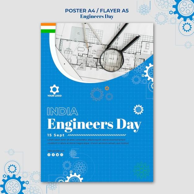 Conception D'affiche De La Journée Des Ingénieurs Psd gratuit