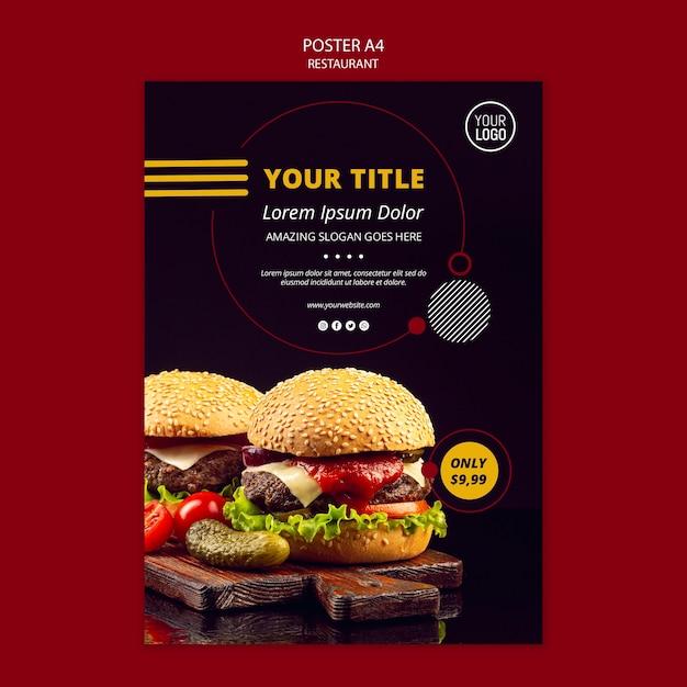 Conception D'affiche Pour Restaurant Psd gratuit