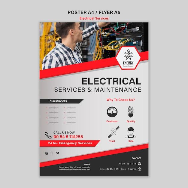 Conception D'affiche Pour Les Services électriques Psd gratuit
