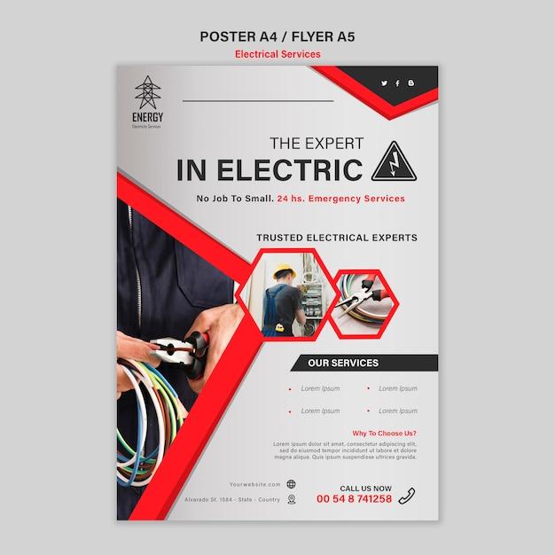 Conception D'affiche Pour Les Services D'experts En électricité Psd gratuit