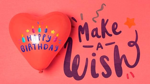 Conception D'anniversaire Ballon En Forme De Coeur Psd gratuit