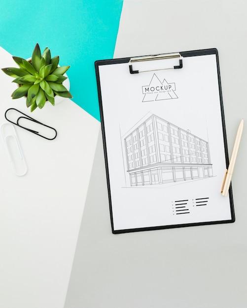 Conception D'architecture Vue De Dessus Avec Maquette Psd gratuit