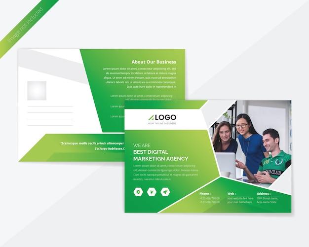 Conception de carte postale d'entreprise verte PSD Premium