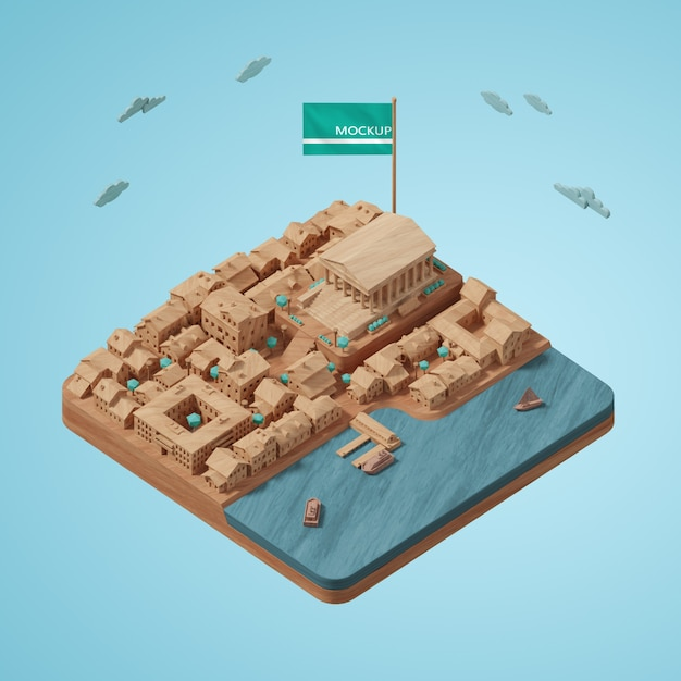 Conception Du Modèle De Construction 3d De La Journée Mondiale Des Villes Psd gratuit
