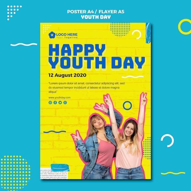 Conception De Flyers Pour La Journée De La Jeunesse Psd gratuit