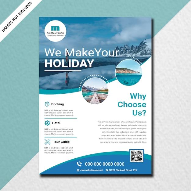 Conception de flyers de voyage à la mode PSD Premium