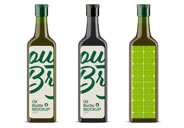Conception De Maquette De Bouteille D'huile D'olive En Verre Vert Isolé PSD Premium