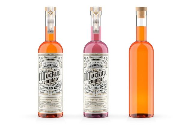 Conception De Maquette De Bouteille En Verre De Whisky Dans Le Rendu 3d PSD Premium