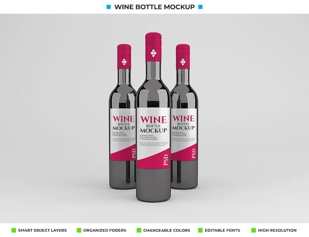 Conception De Maquette De Bouteille De Vin Rouge Dans Le Concept De Boisson PSD Premium