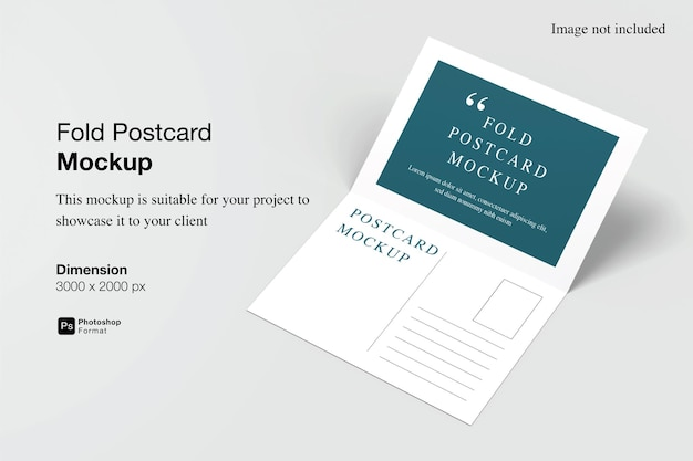 Conception De Maquette De Carte Postale Pliée Dans Le Rendu 3d PSD Premium