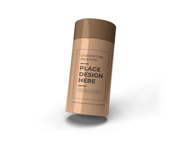 Conception De Maquette D'emballage De Tube De Cylindre Isolé PSD Premium