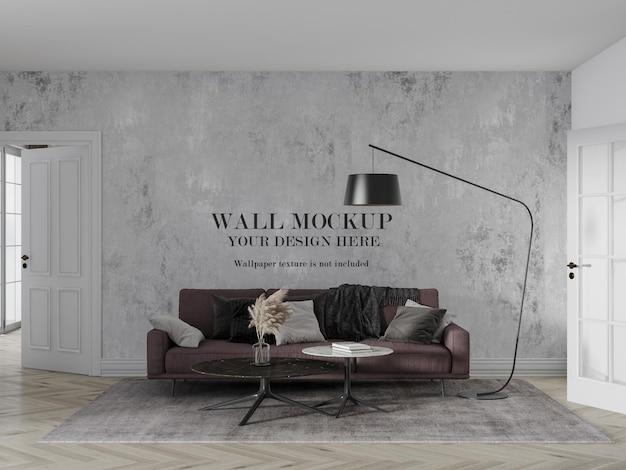 Conception De Maquette De Mur Derrière Un Canapé Bordeaux PSD Premium
