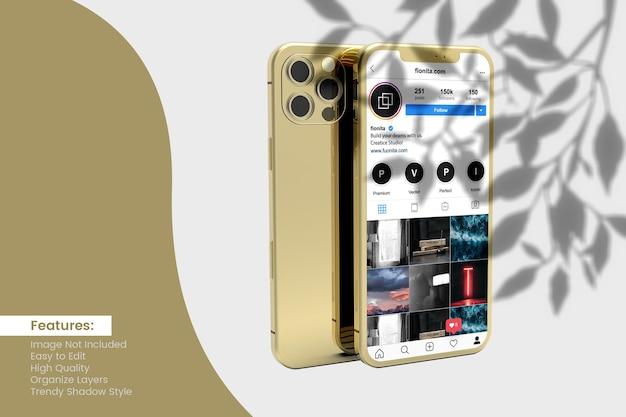 Conception De Maquette De Smartphone Avec Publication De Médias Sociaux Et Conception D'histoire PSD Premium