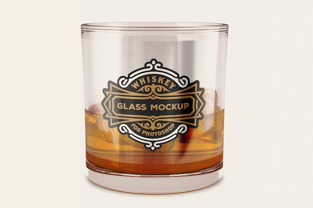 Conception De Maquette De Verre à Whisky En Rendu 3d PSD Premium